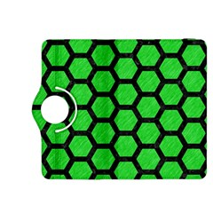 Hexagon2 Black Marble & Green Colored Pencil (r) Kindle Fire Hdx 8 9  Flip 360 Case