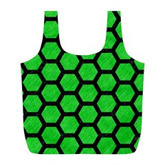 Hexagon2 Black Marble & Green Colored Pencil (r) Full Print Recycle Bags (l)