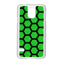 Hexagon2 Black Marble & Green Colored Pencil (r) Samsung Galaxy S5 Case (white)