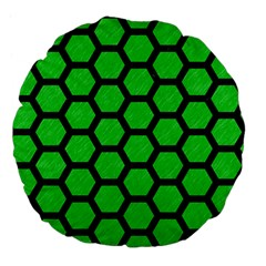 Hexagon2 Black Marble & Green Colored Pencil (r) Large 18  Premium Flano Round Cushions
