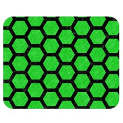 Hexagon2 Black Marble & Green Colored Pencil (r) Double Sided Flano Blanket (medium)