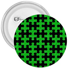 Puzzle1 Black Marble & Green Colored Pencil 3  Buttons