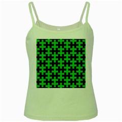 Puzzle1 Black Marble & Green Colored Pencil Green Spaghetti Tank