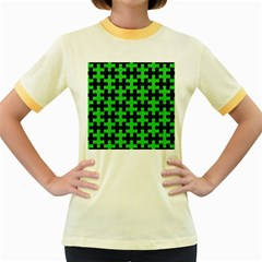 Puzzle1 Black Marble & Green Colored Pencil Women s Fitted Ringer T Shirts