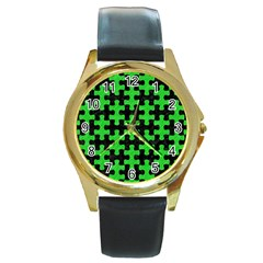 Puzzle1 Black Marble & Green Colored Pencil Round Gold Metal Watch