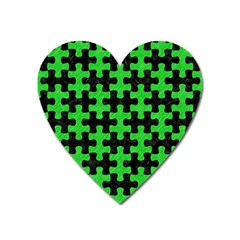 Puzzle1 Black Marble & Green Colored Pencil Heart Magnet