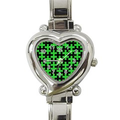 Puzzle1 Black Marble & Green Colored Pencil Heart Italian Charm Watch