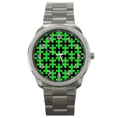 Puzzle1 Black Marble & Green Colored Pencil Sport Metal Watch