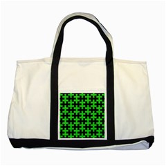 Puzzle1 Black Marble & Green Colored Pencil Two Tone Tote Bag