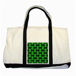PUZZLE1 BLACK MARBLE & GREEN COLORED PENCIL Two Tone Tote Bag Front