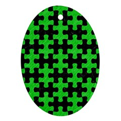 Puzzle1 Black Marble & Green Colored Pencil Oval Ornament (two Sides)