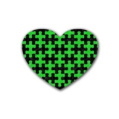 Puzzle1 Black Marble & Green Colored Pencil Heart Coaster (4 Pack)