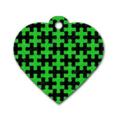 Puzzle1 Black Marble & Green Colored Pencil Dog Tag Heart (two Sides)