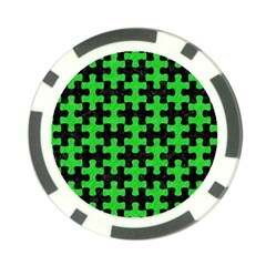 Puzzle1 Black Marble & Green Colored Pencil Poker Chip Card Guard