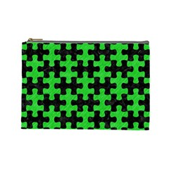 Puzzle1 Black Marble & Green Colored Pencil Cosmetic Bag (large)