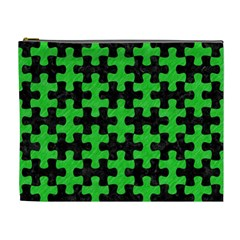 Puzzle1 Black Marble & Green Colored Pencil Cosmetic Bag (xl)