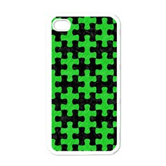 Puzzle1 Black Marble & Green Colored Pencil Apple Iphone 4 Case (white)