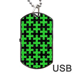 Puzzle1 Black Marble & Green Colored Pencil Dog Tag Usb Flash (one Side)