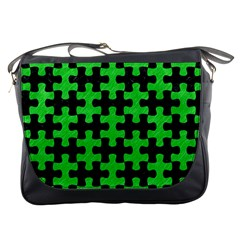 Puzzle1 Black Marble & Green Colored Pencil Messenger Bags