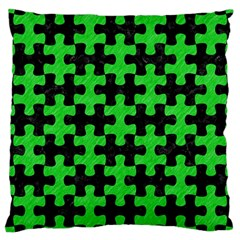 Puzzle1 Black Marble & Green Colored Pencil Large Cushion Case (one Side)