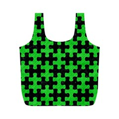 Puzzle1 Black Marble & Green Colored Pencil Full Print Recycle Bags (m)