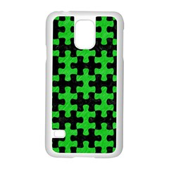 Puzzle1 Black Marble & Green Colored Pencil Samsung Galaxy S5 Case (white)