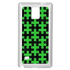Puzzle1 Black Marble & Green Colored Pencil Samsung Galaxy Note 4 Case (white)
