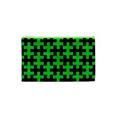 Puzzle1 Black Marble & Green Colored Pencil Cosmetic Bag (xs)
