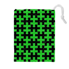 Puzzle1 Black Marble & Green Colored Pencil Drawstring Pouches (extra Large)