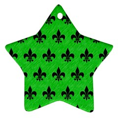 Royal1 Black Marble & Green Colored Pencil Ornament (star)