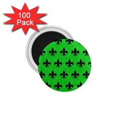 Royal1 Black Marble & Green Colored Pencil 1 75  Magnets (100 Pack)