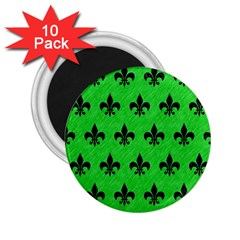 Royal1 Black Marble & Green Colored Pencil 2 25  Magnets (10 Pack)