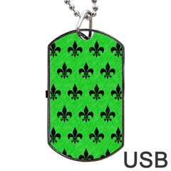 Royal1 Black Marble & Green Colored Pencil Dog Tag Usb Flash (two Sides)