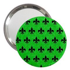Royal1 Black Marble & Green Colored Pencil 3  Handbag Mirrors