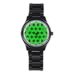 Royal1 Black Marble & Green Colored Pencil Stainless Steel Round Watch