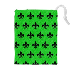 Royal1 Black Marble & Green Colored Pencil Drawstring Pouches (extra Large)