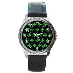 Royal1 Black Marble & Green Colored Pencil (r) Round Metal Watch