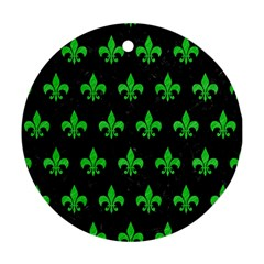 Royal1 Black Marble & Green Colored Pencil (r) Ornament (round)