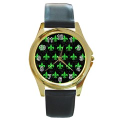Royal1 Black Marble & Green Colored Pencil (r) Round Gold Metal Watch