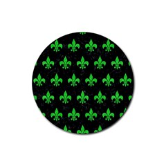 Royal1 Black Marble & Green Colored Pencil (r) Rubber Coaster (round)