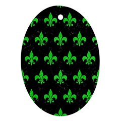 Royal1 Black Marble & Green Colored Pencil (r) Oval Ornament (two Sides)