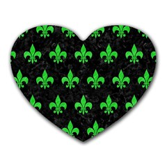 Royal1 Black Marble & Green Colored Pencil (r) Heart Mousepads