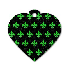 Royal1 Black Marble & Green Colored Pencil (r) Dog Tag Heart (two Sides)