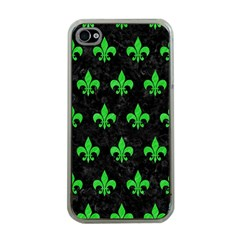 Royal1 Black Marble & Green Colored Pencil (r) Apple Iphone 4 Case (clear)