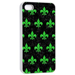 Royal1 Black Marble & Green Colored Pencil (r) Apple Iphone 4/4s Seamless Case (white)