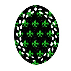 Royal1 Black Marble & Green Colored Pencil (r) Oval Filigree Ornament (two Sides)