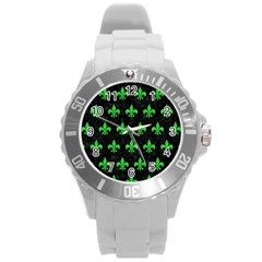 Royal1 Black Marble & Green Colored Pencil (r) Round Plastic Sport Watch (l)