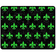 Royal1 Black Marble & Green Colored Pencil (r) Double Sided Fleece Blanket (medium)