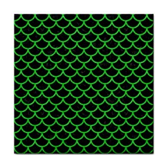 Scales1 Black Marble & Green Colored Pencil Tile Coasters
