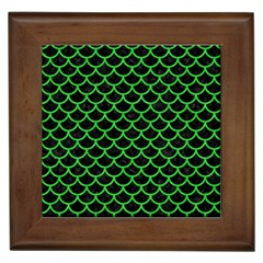 Scales1 Black Marble & Green Colored Pencil Framed Tiles